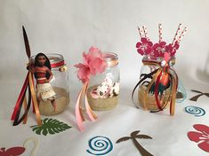 This Moana Decorated Mason Jar centerpiece is just one of the custom, handmade pieces you'll find in our paper & party supplies shops. Moana Birthday Decorations, Moana Birthday Party Theme, Luau Birthday Cakes, Moana Themed Party, Birthday Party Centerpieces, 3rd Birthday Parties, 2nd Birthday, Moana Centerpieces, Mason Jar Centerpieces