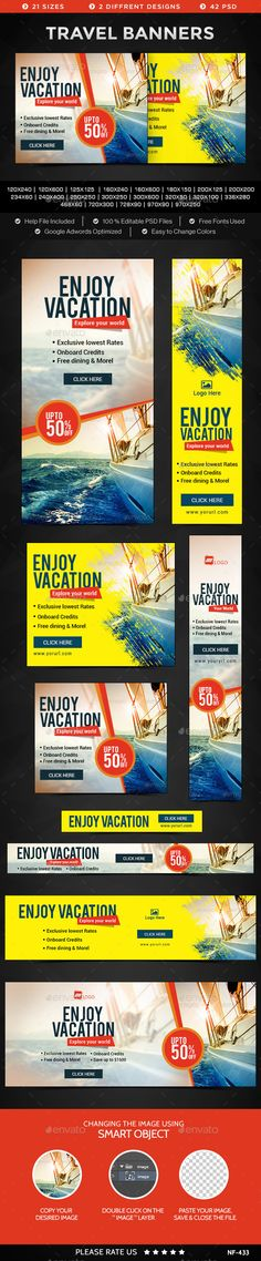 Travel Banners Template #design #banners #web Download: http://graphicriver.net/item/travel-banners/11819808?ref=ksioks