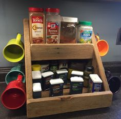 Handcrafted spice and mug rack from by RidgeTopPrimitives on Etsy