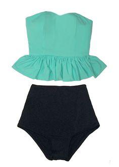 Mint Green Long Peplum Top and Black Vintage Retro High Waist Waisted Swimsuit Swimsuits Swimwears Bikini Swim Bathing Swim wear suit M L