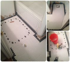 black border to wall (replaces black base cove) Hex Tile, Penny Tile, Hexagon Tiles, Hexagon Quilt, Black And White Bathroom Floor, Tiled Hallway, Black Tiles, Vintage Tile, Bathroom Floor Tiles