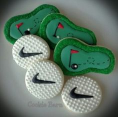 Golf Hand Decorated Cookies- maybe for the outing next year Repinned By:#TheCookieCutterCompany