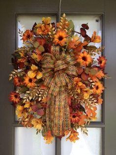 Fall Floral arrangement Door Swag/Wreath Green and Brown - Wreath Ideen Thanksgiving Wreaths, Autumn Wreaths, Thanksgiving Decorations, Holiday Wreaths, Fall Decorations, Mesh Wreaths, Fall Door Wreaths, Seasonal Decor, Fall Swags