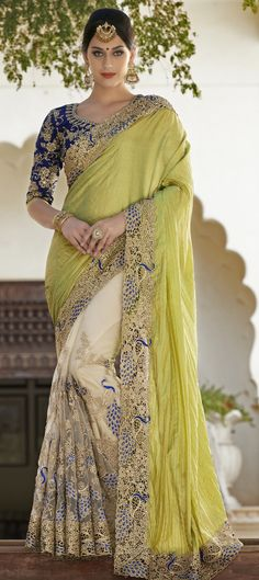 Green, White and Off White color family Bridal Wedding Sarees
