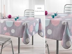 Szare obrusy na stół kuchenny w różowe koła