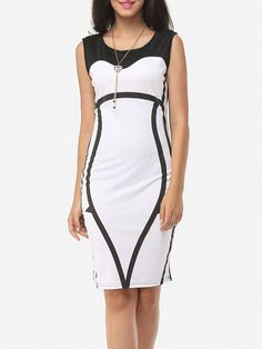 Round Neck Blended Color Block Bodycon Dress