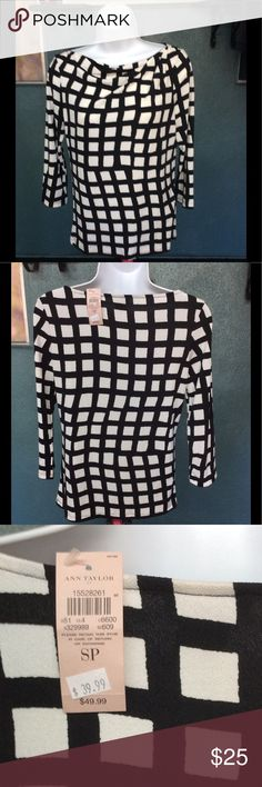 Brand New Ann Taylor Top Brand new Ann Taylor black and cream colored blouse. Top has 3/4 sleeves and is a Size small petite. Super cute and stylish top that can be worn to the office or for any occasion! Ann Taylor Tops Blouses