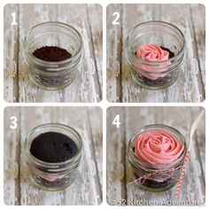 Create a cupcake in a jar - cut it in half and frost between or put whole cupcake in.  See 52kitchenadventures for directions