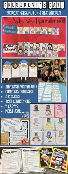 Read all about our week of fun learning about George Washington and Abraham Lincoln.  Informative text, literature connections, crafts, word work, writing, and comparing and contrasting activities.  Loads of fun!