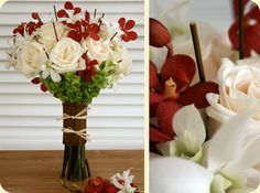 White bouquet with red accents. ...replace red flowers with japanese maples.