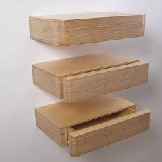 Pacco Floating Drawers from Mocha.uk.com – Birch plywood – wall mounted recessed shelf with a hidden drawer – hallway 1600/190/65