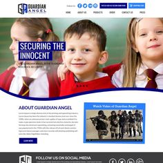 Design a Social Media Friendly homepage for a Security Company that protects kids in schools We have a patent pending product called the Guardian Angel. It is a door security device that prevents hostile or ag.