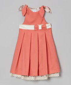 Another great find on #zulily! Coral Layered Pleated Jumper - Toddler & Girls #zulilyfinds
