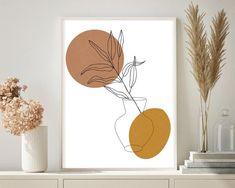 Modern one line drawing botanical poster, Plant painting, Bedroom wall art, Abstract art print, Printable wall art, Wall decor, Plant Print