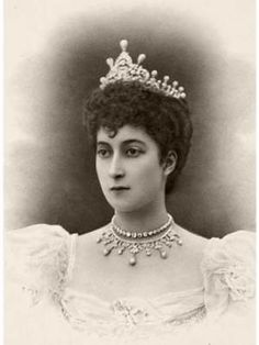 1896 - here we see the pearl and diamond tiara, and two necklaces of the wedding gift presentation