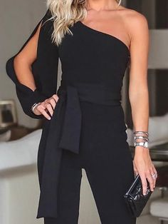 SPECIFICATIONS: Product Name Stylish One Shoulder Long Sleeves Jumpsuit Brand Swankmyway SKU Gender Women Style Elegant/Sexy/Fashion Type Jumpsuit Occasion Party/Vacation/Daily Life Material Polyester Sleeve Long Sleeves Decoration Solid Similar Product Long Jumpsuits, Jumpsuits For Women, Evening Jumpsuits, Trend Fashion, Womens Fashion, One Shoulder Jumpsuit, Black Jumpsuit, Jumpsuit Style, Backless Jumpsuit