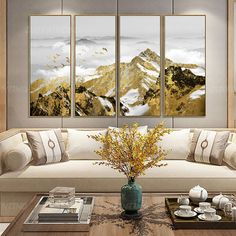 4 pieces Wall art Gold Mountain Abstract painting print Black and white Gold leaf Acrylic Painting print On Canvas home Decor Framed print Modern Painting, Chinese Art Painting, Golden Painting, Painting, Amazing Art Painting, Painting Prints, Art, Abstract, White Canvas Art