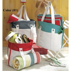 Tag Canvas Beach Tote Bag in Blue/Gray