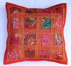 Cotton Handmade Patchwork Cushion Cover Home Decor Pillow Cases KH058 #Handmade #Ethnic