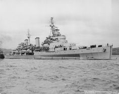 """""""British Pacific Fleet 1945: HMS Belfast leaving the Tyne, after a refit to prepare her for service in the Far East."""""""