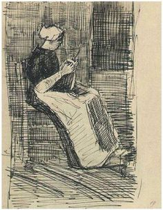 VanGogh Scheveningen Woman Knitting 1881 sketch