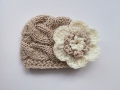 Knit Baby Girl Cable Hat , Baby Hat Photo Prop , Knit Baby Hat , Crochet Flower Hat ,Photo Prop