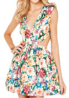 Multicolor Floral Sleeveless Plunging Neckline Silk Mini Dress