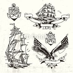 Buy this vector graphic on Fotolia (extended license for commercial use)    #sailor #tattoo #sea #ship #anchor