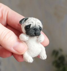 Felted mopsy, pug puppy, Felted Dog, needle felted dog, dollhouse miniatures, miniature dog figurine, Ready to Ship