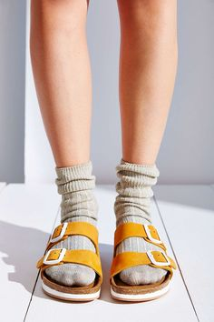 Shop Urban Outfitters for the latest styles in women's sandals like platform sandals or espadrille wedgies. We've also got your favorite brands such as Birkenstock and Teva. Socks And Sandals, Sandals Outfit, Slide Sandals, Yellow Sandals, Moda Casual, Clearance Shoes, Sock Shoes, Me Too Shoes, Bootie Boots