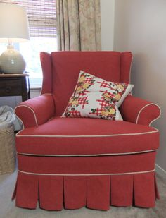 Cottage-style slipcover made from 10 oz. cotton duck cloth (canvas) from Big Duck Canvas, color Burnt Scarlet.