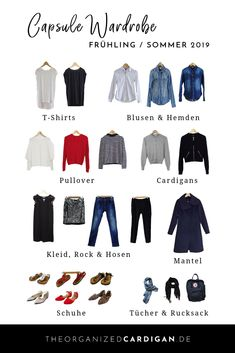 Capsule Gardrobe Frühling Sommer 2019 inkl Anleitung by The organized Cardigan Capsule Wardrobe, Travel Capsule, Wardrobe Design, Business Outfits, Business Clothes, Minimalist Fashion, Minimalist Style, What To Wear, Curvy