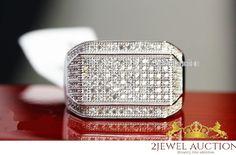 Men's VVS1 Diamond Wedding Engagement Ring 14K White Gold Pinky Band Ring 1.50Ct #2jewelauction #WeddingBand