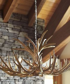 Faux Antler Chandelier-This chandelier has a wonderful sculptural quality that sets the tone for the space from Rustic chandelier, cabin decor, lodge style, antler, farmhouse Cabin Lighting, Rustic Lighting, Unique Lighting, Lighting Sale, Bedroom Lighting, Interior Lighting, Kitchen Lighting, Dining Lighting, Luxury Lighting