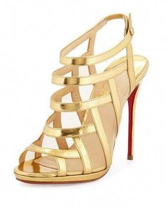 36fd74b09402e4 Christian Louboutin Nicole Mesh-Inset Caged Red Sole Sandal PHP) ❤ liked…