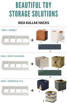 Here are some toy storage bins and baskets I'm loving right now. All make use of the IKEA Kallax storage unit and bins come with handles so kids can easily access and pull around the living room :) Toy Storage Shelves, Ikea Toy Storage, Toy Storage Solutions, Toy Storage Baskets, Playroom Storage, Kids Storage, Storage Ideas, Kallax Shelving, Toy Bins