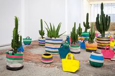 Bright fabric plant bags from Serax Maison
