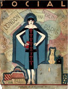 Social La Habana 1924 Art Deco woman travel lover fashion print from Cuban magazine cover by FoundDandy on Etsy Dance Magazine, Magazine Art, Magazine Covers, Vogue Magazine, Cuba, 1920s, Art Nouveau Poster, Art Deco Illustration, Vogue Covers