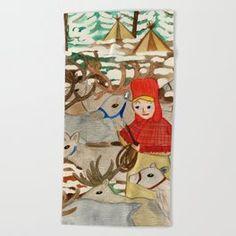 Reindeer Herding Beach Towel