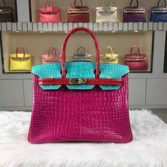 7e44c3783a 2015 New Hermes Birkin Color-blocking Crocodile Shiny Leather — Hermes  Crocodile Birkin Bag