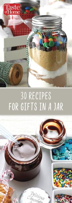 Homemade gifts in a jar are a sweet way to show people just how much they mean to you. These pretty mason jar gift ideas include everything from pancake, muffin, soup and cocoa mixes to canned salsas, jams, sauces and spices. Jar Food Gifts, Food Jar, Gift Jars, Homemade Food Gifts In A Jar, Gifts In Jars, Homemade Spices, Mason Jar Desserts, Mason Jar Cookies, Cookies In A Jar