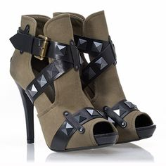 ASH Giorgia Open Toe Platform Bootie Military/Black