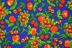 Vintage 1970s fabric in highquality unused cotton with red/ green/ gold printed berries pattern on blue bottomcolor