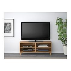 IKEA - BESTÅ, TV bench, oak effect, , It's easy to keep the cables from your TV and other devices out of sight but close at hand, as there are several cable outlets at the back of the TV bench.The cable outlet at the back makes it easy to gather and organise all wires.