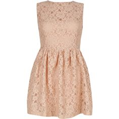 Nude Lace Dress (42 CAD) ❤ liked on Polyvore featuring dresses, vestidos, robes, short dresses, lace cocktail dress, lacy dress, lace dress and pink mini dress