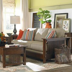 "Hmmm.  What about picking up this look in the ""reading room""/front living room. Bassett Grove Park sofa 2009-62, starts at sale price $1,025.00.  Wide choice of fabric."