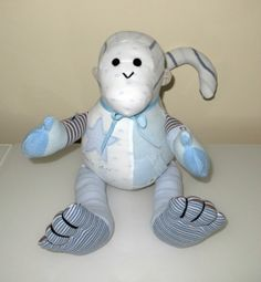 A monkey memory bear made from a little boys precious outgrown first clothing <3 www.treasured-teds.co.uk