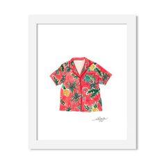 hawaiian shirt - 8 x 10 print - JustGreet Watercolours, Hawaiian, Floral Tops, Wedding Invitations, Greeting Cards, Art Prints, Shirts, Image, Collection