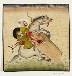 Painting, Rao Umed Singh of Bundi killing boar, painted in opaque watercolour on paper, Bundi, ca. 1790, [verso] Inscription, written in ink, Victoria and Albert Museum