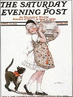 Cats in Art, Illustration and photography: Saturday Evening Post cover art Apr 27 1918  by  Sarah Stillwell Weber